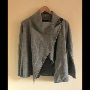 Tahari grey wool open crop cowl Moto sweater